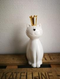 Witte kat beeld met gouden kroon