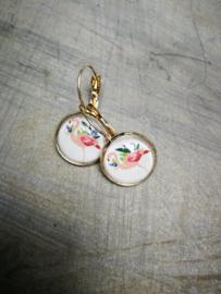 Flamingo in soft flower bubbel oorbellen