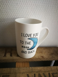 Love you to the moon and back koffie tas