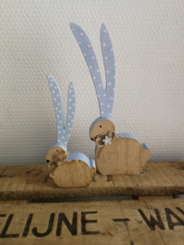 Set van twee konijntjes pastel blauw