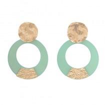 Appelzeegroen biba oorbellen met goud