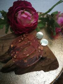 Goud en roze oorbellen