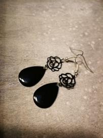 Zwarte roos druppel oorbellen
