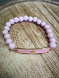Zacht roze ster armband