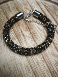 Bruine glitter armband