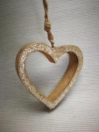 Hart in goud kerstdecoratie