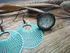 Aqua set ring en oorbellen