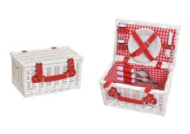 Rood met witte picknick mand