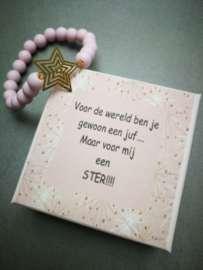 Mijn juf is een ster armband roze