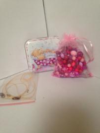 Roze paarse kralen geschenk set