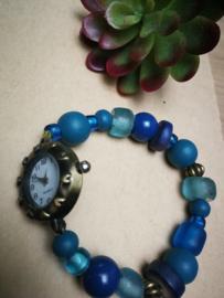 Blauw kralen horloge