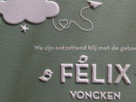 Grijsgroen letterpress