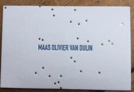 goudfolie met staalblauw letterpress