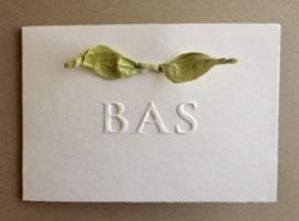 geboortekaart reliefdruk met katoenen papier lintstrik