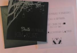 Zwart en Zilverfolie trouwkaart