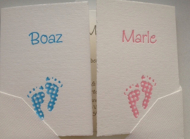Tweelingkaart met voetjes