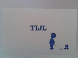 Tijl letterpress koningsblauw