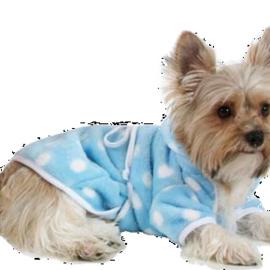 O Lala Pets honden badjasje Blauw met Polkadot