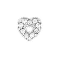 Floating Locket Charm Open Hartje  Strass / Zilver