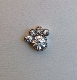 Floating Locket Charm Hondenpootje Strass