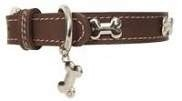 Puppy Angel Silver Bone Leather Collar, Brown