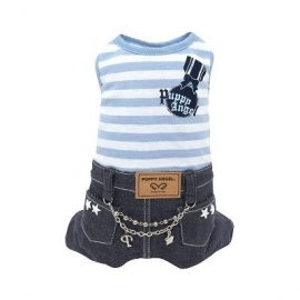 Puppy Angel Denim stripe overall