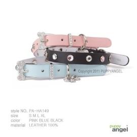 Puppy Angel Hondenhalsband Crystal Bone Buckle Black