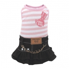 Puppy Angel Denim striped dress