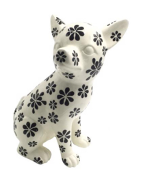 Pomme Pidou spaarpot Chihuahua Zittend Nanou Zwart wit bloem