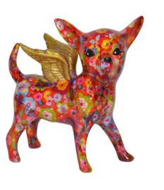 Pomme Pidou spaarpot Chihuahua Angel Nanou Rood met bloem