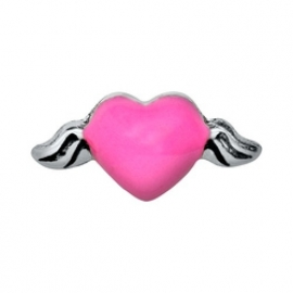 Floating Locket Charm Wings Pink Heart