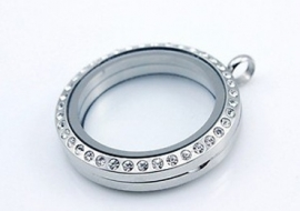Floating Locket Rond Strass