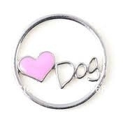 Floating Locket Love Dog ring Pink