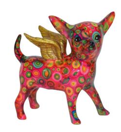 Pomme Pidou spaarpot Chihuahua Angel Nanou Roze met circels