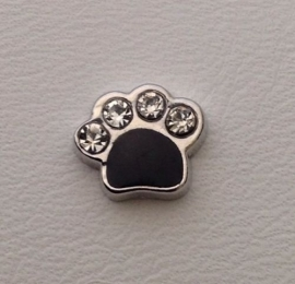 Floating Locket Charm Hondenpootje Zwart/Strass