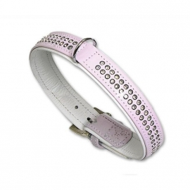 Vintage Strass halsband dubbele strass roze/wit