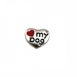 Floating Locket Charm I love my dog