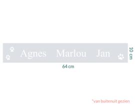 raamfolie op maat • Namen en pootjes • 64 x 10 cm