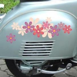scooter stickers • roze en paarse bloemen