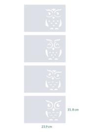 raamfolie op maat • Uilen • 4 stuks