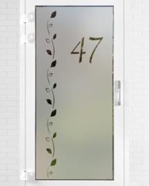 verticale statische raamfolie • Chique bladeren met huisnummer