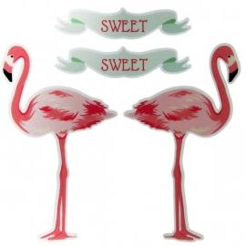 reflectie fiets en scooter stickers set - flamingo's
