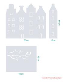 raamfolie op maat • Grachtenhuisjes en Vogels op Tak • 3 stuks
