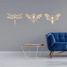 houten wanddecoratie • Origami Insecten Set