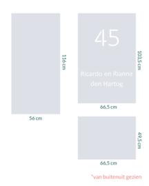 raamfolie op maat • Huisnummer en namen • 3 stuks