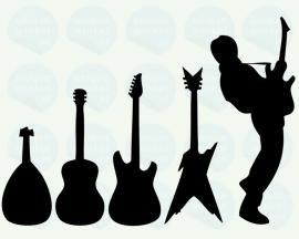 auto sticker • evolutie van de gitaar