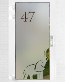 verticale statische raamfolie • Olifant met huisnummer