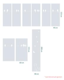raamfolie op maat • Vogels op een draad • 9 stuks