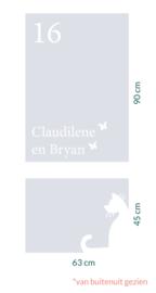 raamfolie op maat • Kat met vlinder met namen en huisnummer