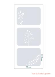 raamfolie tegels op maat • Botanisch • 3 stuks • 50 x 37,5 cm